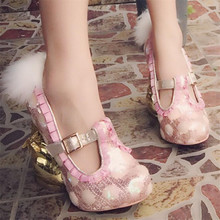 Cute Little Rabbit Strange Heel font b Women b font Pumps Mary Janes Pink High Heels