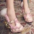 Pequeño Conejo lindo Extraño Talón Mujeres Bombas Mary Janes Tacones Altos de Color Rosa Paillette Vestido Del Partido Del Zapato Decoración de Plumas Zapatos de Cuña