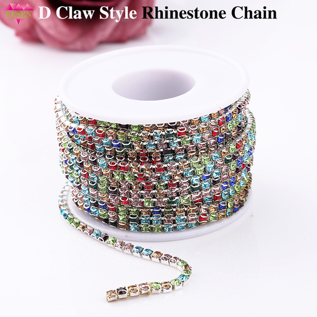 SS12 3mm D Claw Chain By Roll Mix Color Glass Rhinestone Chain Trim Sewing  Accessories Stone Chain 10yards lot 520bf964e5c6