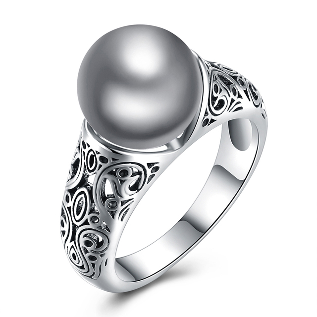 Gray Color Simulated Pearl Rings For Women Hollow Flower Shape