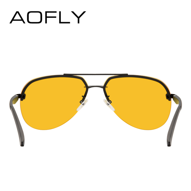 AOFLY New Arrival Yellow Polarized Rimless Sunglasses Men Women Night Vision Goggles Driving Glasses Metal Legs Eyewear AF8053 3