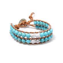 Leather Wrap Bracelet Boho Bead Turquoises Natural Stone Jewelry Drop Shipping