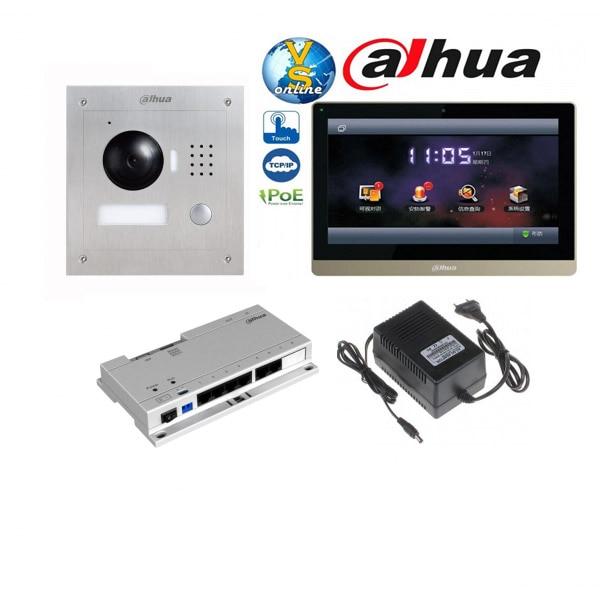 Original english Dahua VTH1660cH Color Monitor with VTO2000A outdoor IP Metal Villa Outdoor Video Intercom sysytem with VTO108 optima ch 2000