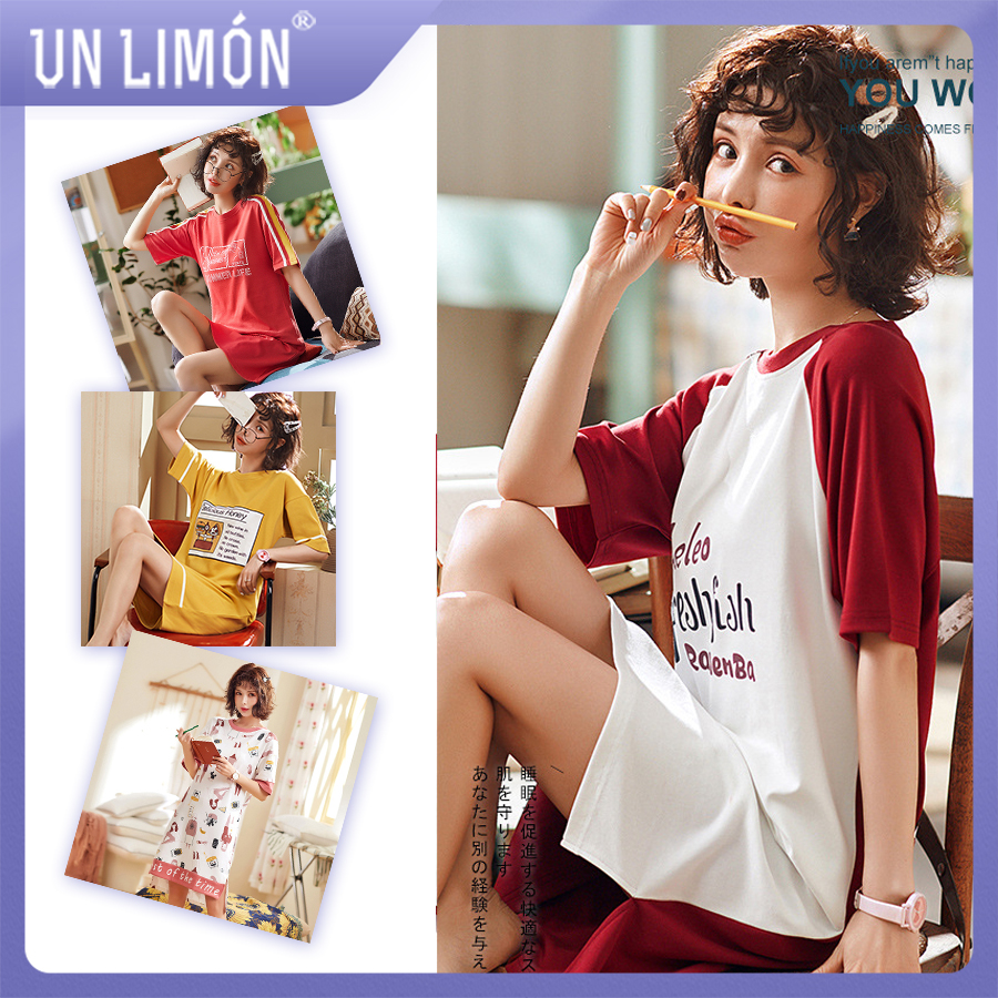 UNLIMON Women Cotton Pajamas Korean Fashion Sleepwear Nighty Dress Short Sleeve(China)