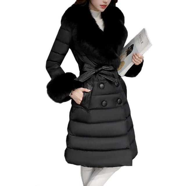 2017 Women New Winter Waist belt Down jacket Thicken Long Outerwear Warm Fur collar White Duck down Female Slim Fluffy Coat X284