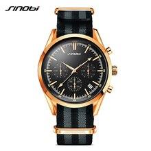 SINOBI Spy 007 Men's Golden Sports Wrist Watches Chronograph Military NATO Nylon Watchband Luxury Brand Males Quartz Clock G14