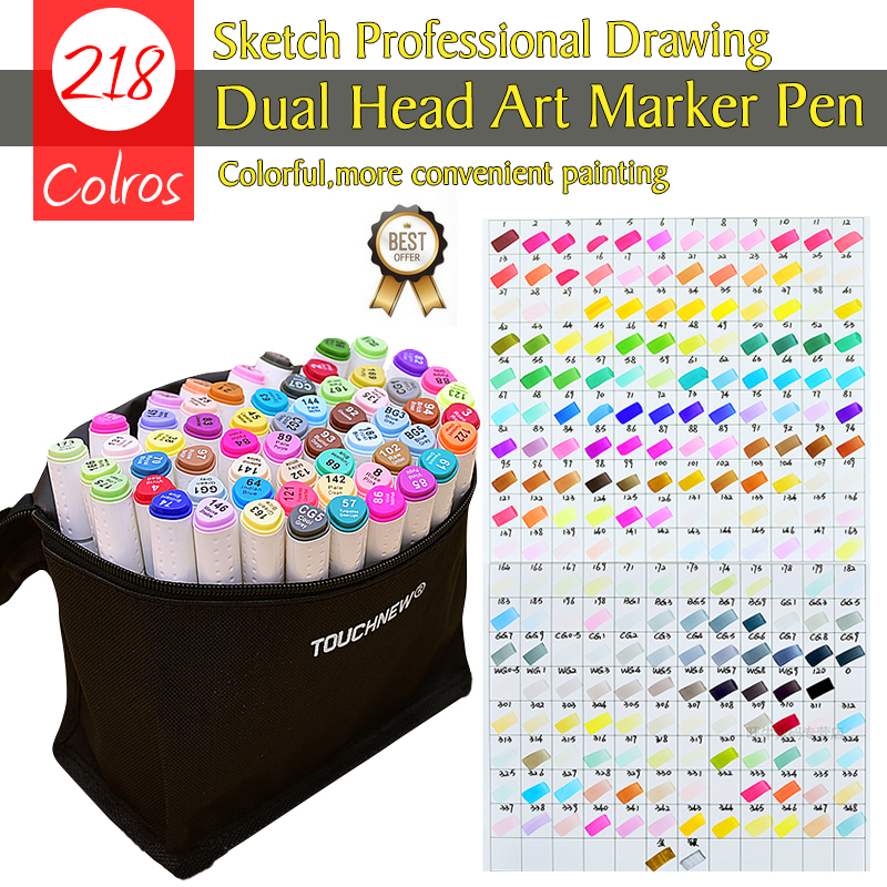 Superior 218Colors Sketch Marker Pen Double Tips Oily Art Marker Set For Drawing Sketching Animation Manga Art Supplies ruru15070 to 218