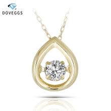 DovEggs Solid 18K 750 Yellow Gold Cneter 0.13ct Diamond Necklace for Women Dancing Diamond Pendant Necklace fenasy 18k yellow gold crown pendant pearl necklace women wedding pearl jewelry chain necklace 18k gold necklace for love gift