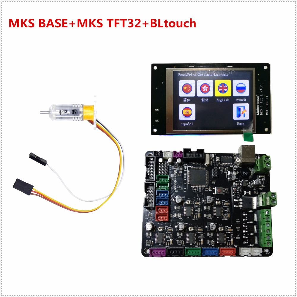 MKS BASE v1.6 + MKS TFT32 V4.0 touch screen + BLtouch bed leveling sensor all in one controller kit for 3d printer starter 3d printer kit motherboard mks base mks tft32 touch screen all in one controller starter kits imprimante reprap control panel