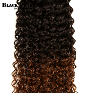 Image 4 - 黒梨 1/3/4 ピースオンブルブラジルキンキーカーリーヘアバンドル織り人毛エクステンション 1B/ 4/30 ブラウン Remy オンブル毛束