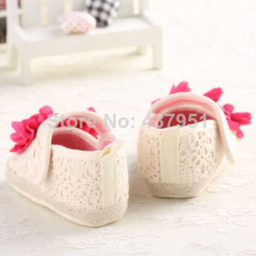 2015 new White Baby Girl Soft Sole Crib Shoes Toddler Sneaker Age 0-18 Months