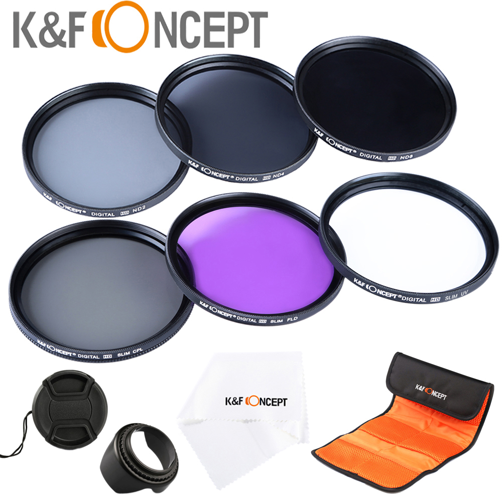 UV CPL FLD ND2 ND4 ND8 Lens Camera Filter Kit(52 58 62 67 72 77mm)+Lens Hood+Lens Cap+Cloth For Canon for Nikon for Sony etc.