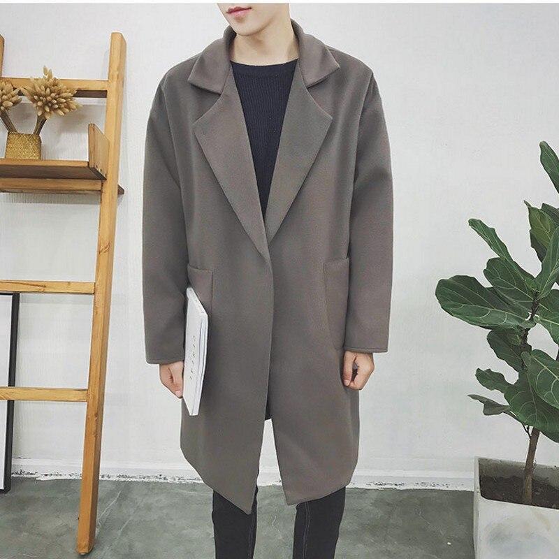 Mens Loose Winter Loose Wool Blend Trench Coat Oversize Overcoat Outwear Jacket
