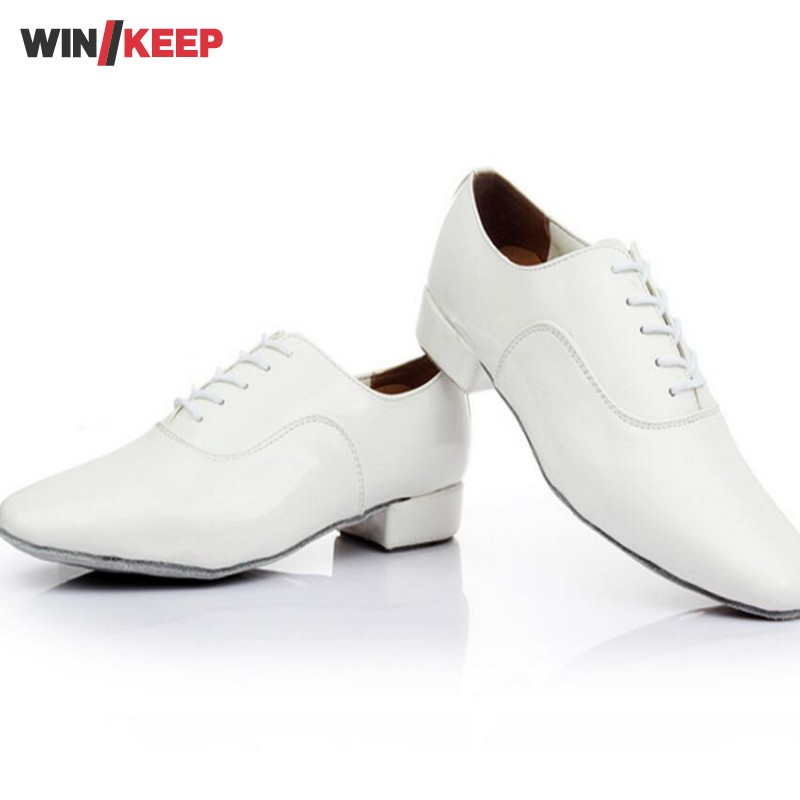 2017 New style Brand Lace Up White Black New Modern Men's Ballroom Tango Latin Dance Zapatos  Dance Shoes For Mens child female slim stripe color new modern dance dress latin stage up to 1940