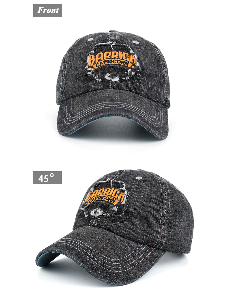 """Embroidered """"Capricorn"""" Baseball Cap - Front and Front Angle Views"""