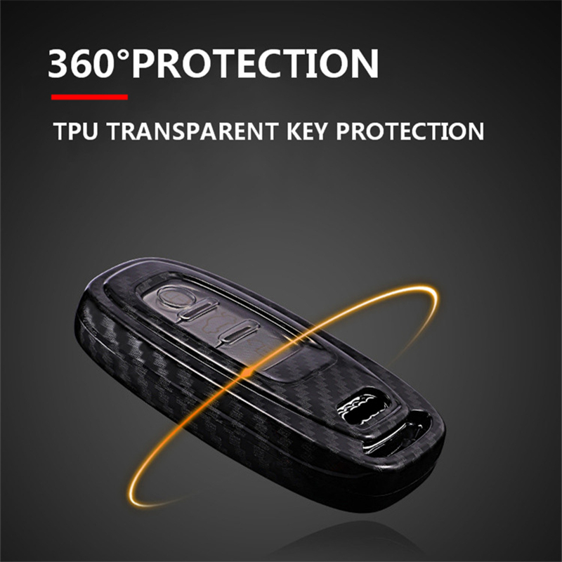 Image 3 - Carbon fiber+PC Protection Car Key Cover Case For Audi A6L A4L Q5 A3 A4 B6 B7 B8 Smart Carbon Fiber Grain Shell Accessories-in Key Case for Car from Automobiles & Motorcycles