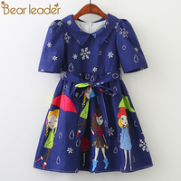 Bear Leader Girls Dresses 2018 New Fashion Princess Clohting Umbrella Girl Rain Point Snow Design Girls