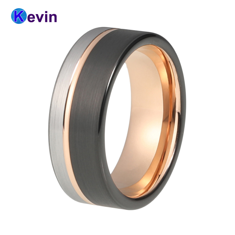 8MM Men Women Wedding Band Tungsten Ring Black Rose Gold Color With Offset Grooved Brushed Comfort