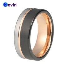 8 мм для мужчин и женщин обручальное вольфрамовое кольцо черного