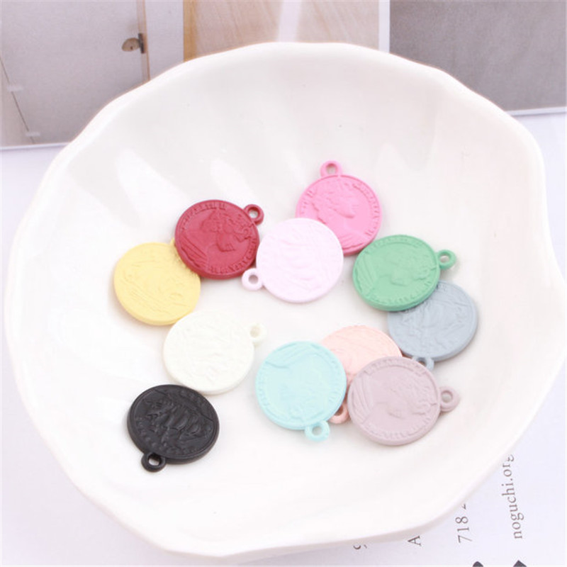 Factory Price 100PCs 16mm Assorted Candy Colors Acrylic Pendant Charms Fit Bracelet Necklae Earring Keyring Phone Chain Decor