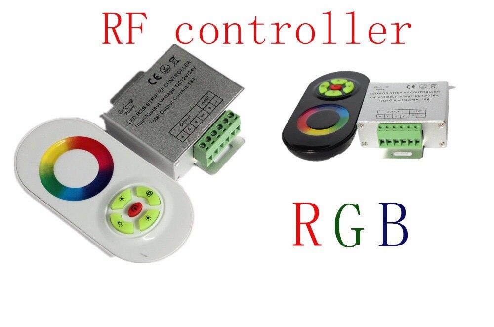 RGB LED Contrôleur, DC12, 24 V 5 Touches coque En Aluminium RF Tactile RGB contrôleur pour led bande 5050 3528 rgb appliques murales