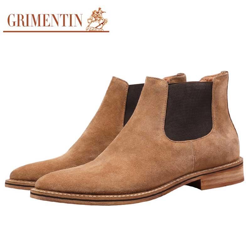 c3cb214b2 Zapatos Botas Cuero Chelsea Black Tobillo Casuales De Grimentin Hombre  Italianos Para brown Ante Vaca Negocios 8RUxdqw