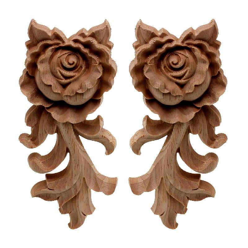 Wooden Carved Corner Onlay Applique Furniture Decal DIY Craft Home Decor