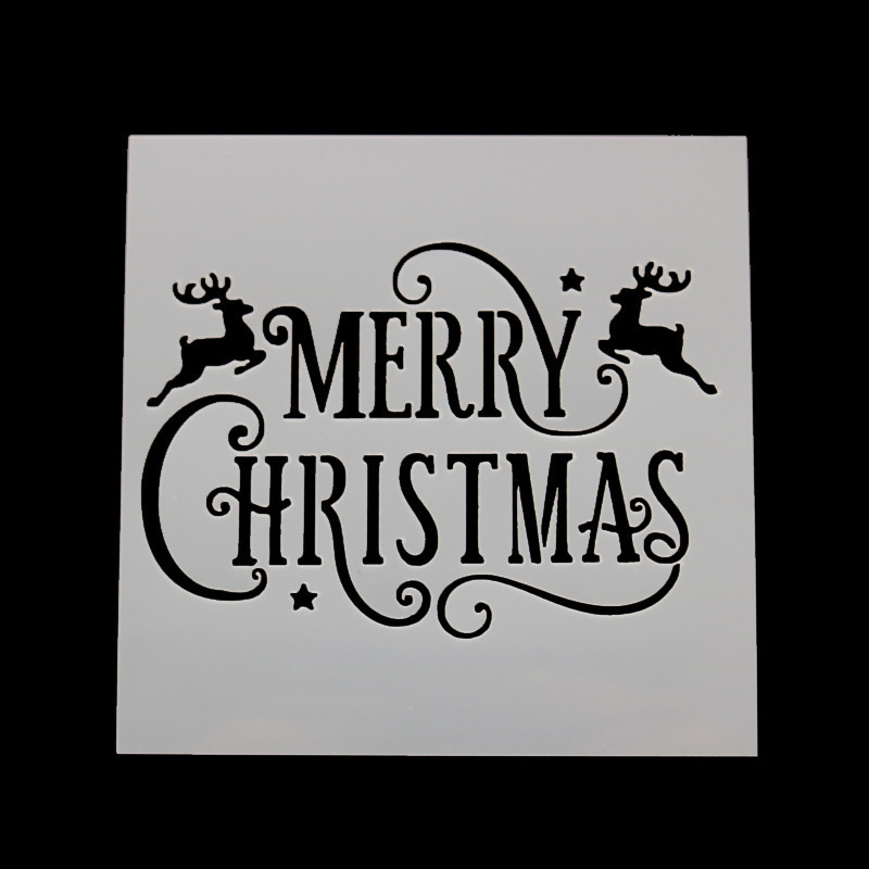 13*13 Merry Christmas Layering Stencils for Diy scrapbookphoto album Decorative Embossing coloring,painting stencil,home decor