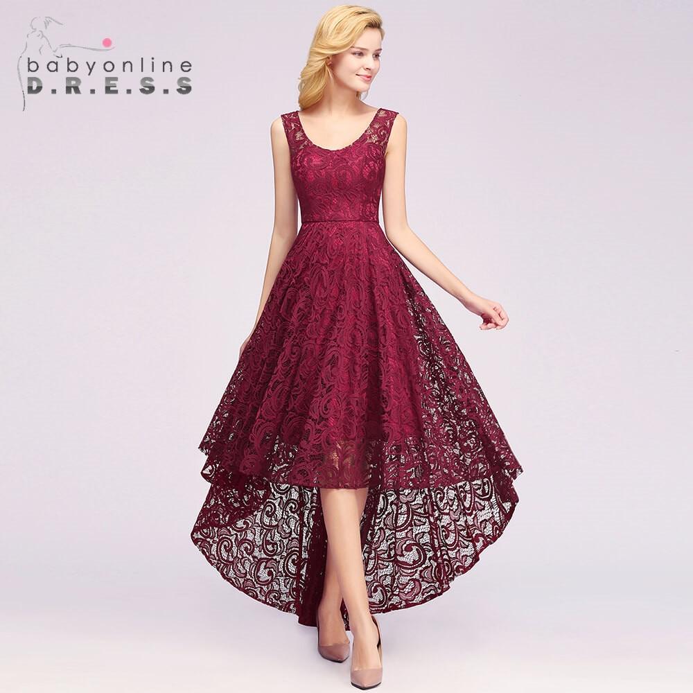 New Arrival Burgundy Plus Size High Low Lace Evening Dress Elegant O Neck Sleeveless Long Evening Gown Vestido De Festa Longo