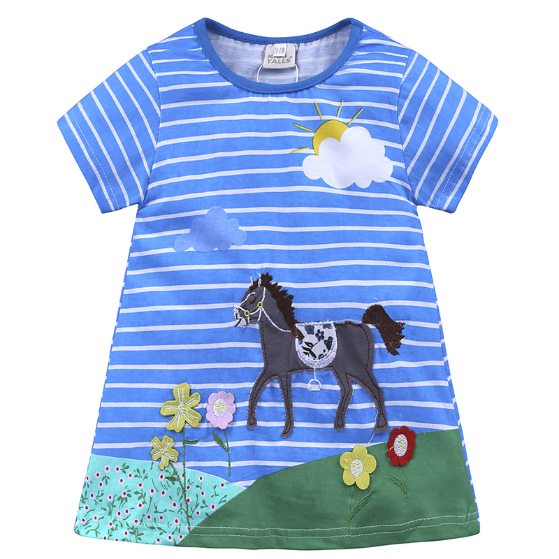 Kids Tales Girl Clothes summer blue tripe horse pattern embroider Children clothing cute Design baby girl dress for 1-6y