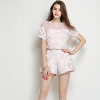 Elegant Jacquard Women 2 Piece Crop Top Pants Sets 2015 New Summer Fashion Brand Short Sleeve