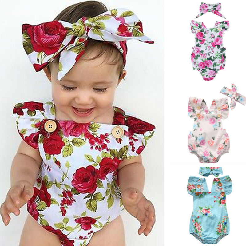 Baby Girl Romper 2PCS Short Petal Sleeve Lace Backless Elastic Waist Red Jumpsuits Headband 0-24M