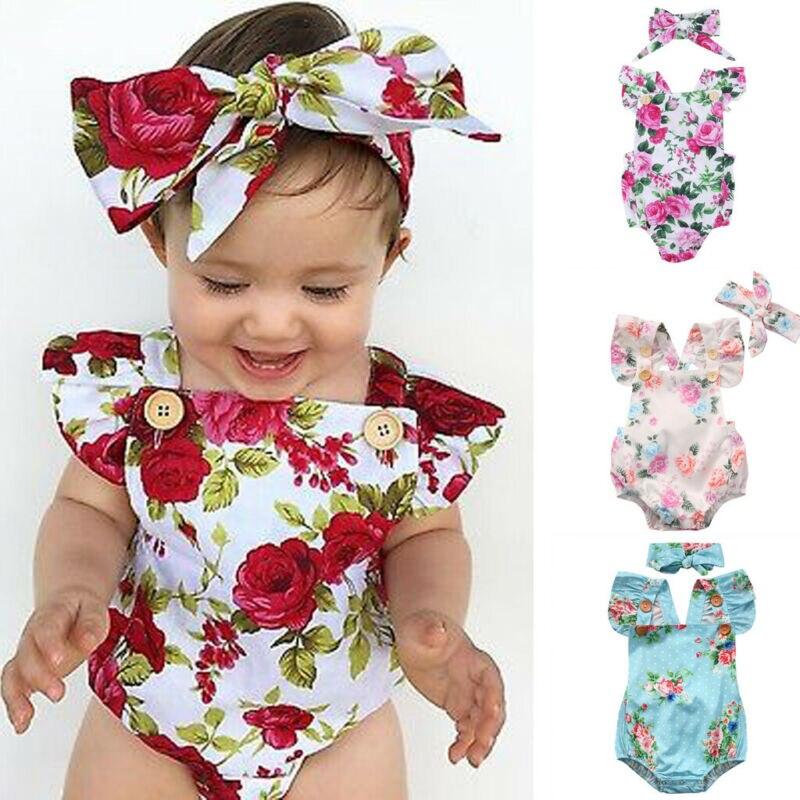 Милый комбинезон с цветочным принтом для маленьких девочек, комплект из 2 предметов, комбинезон + повязка на голову для младенцев 0-24 месяцев, Одежда для новорожденных, лидер продаж 2019