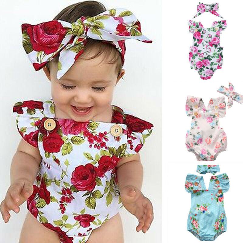 2019 Cute Floral Romper 2pcs Baby Girls Clothes Jumpsuit Romper + Headband 0-24M Age Infant Toddler Newborn Outfits Set Hot Sale