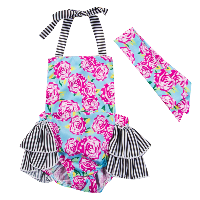 New Fashion Newborn Toddler Infant Baby Girls Floral Romper Jumpsuit Headband Sunsuit Outfit Summer Clothes