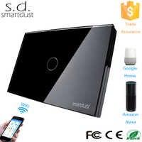 Smartdust US AU standardowa aplikacja ewelink Wifi przełącznik Homekit 1 Gang przełącznik zdalnego sterowania światłem szkło hartowane dotykowy inteligentny przełącznik