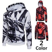 2018 men's autumn and winter fashion brand new casual hooded sweatshirt fashion irregular ink 3D printing jacket Asian size