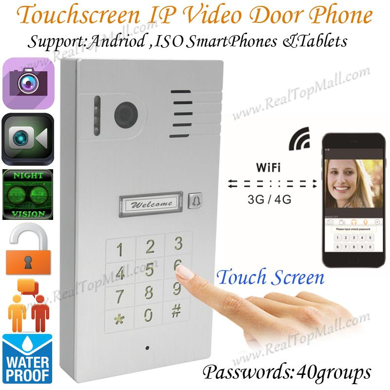 Touch Screen Keypad IP Video Intercom WiFi Wireless Video Door Phone System Remote Control Via Smartphones Andriod Iso Tablets