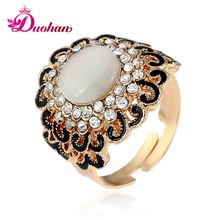 OL Women Fashion Jewelry Luxury Plating KC gold Flowers Opal Rhinestone Adjustable Ring for Women Gift Jewelry Wholesale 9911