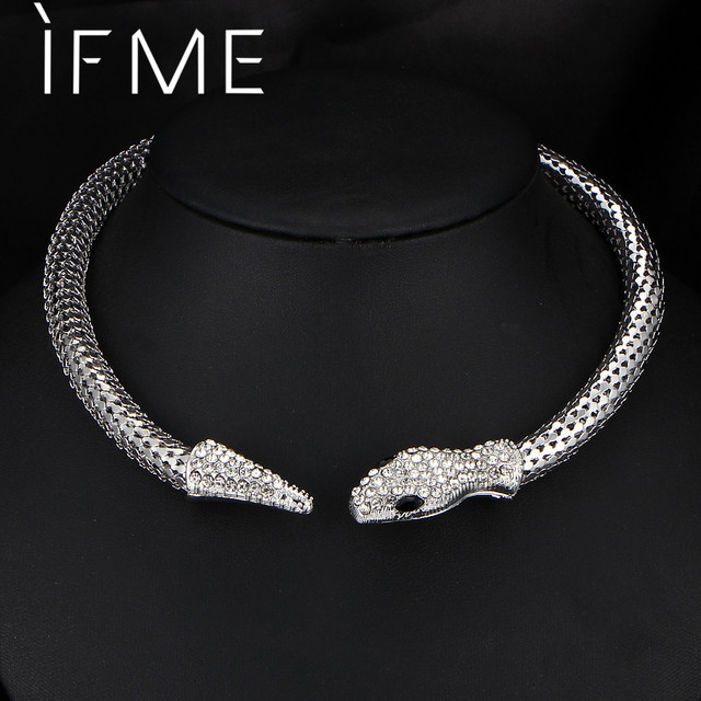 IF ME Trendy Personality Rhinestone Crystal Snake Choker Necklace For Women Silv