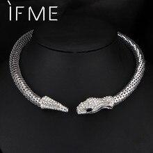 424eac4e0f9b Si ME moda personalidad Diamante de imitación cristal serpiente gargantilla  Collar para mujeres plata oro declaración joyería nu.