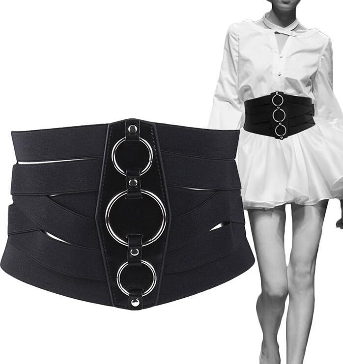 Women's Runway Fashion Elastic Black Cummerbunds Female Dress Shirt Corsets Waistband Belts Decoration Wide Belt R1147
