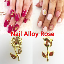 10pcs Nail Alloy Rose 3d Art Delicate Golden Anese Style Jewelry Decoration