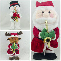 Electronic Santa Claus Christmas Deer Snowman Musical Singing Dancing With Saxophone Christmas Home Decoration best kids Gifts