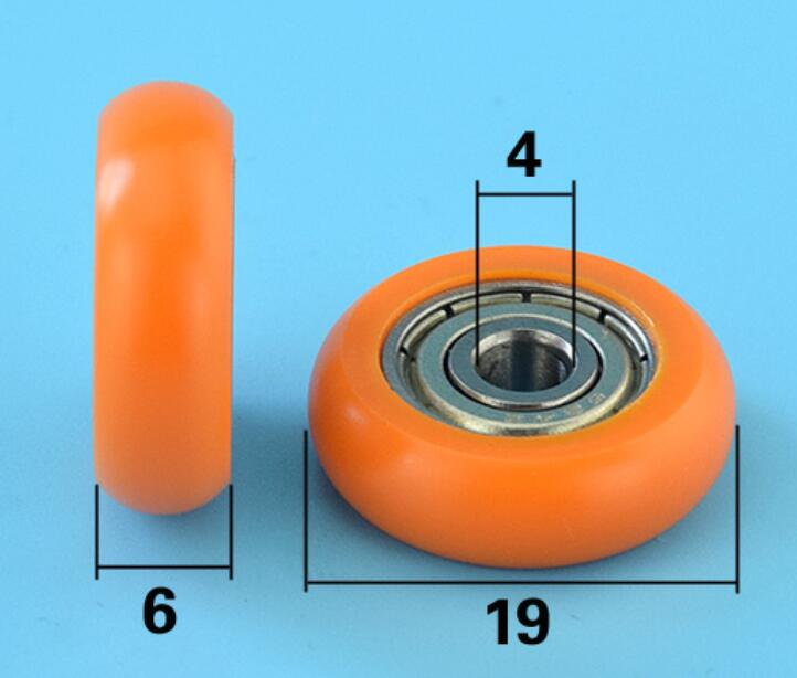 DuoWeiSi 4*19*6mm Plastic Coated Rubber Pulley Drawer Showcase 624 Bearing GB 20 Aluminum Profile Rail  Bearing 29kg Inside 4mm