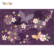 Yeele Wallpaper Cherry Blossom Butterfly Vine Purple Photography Backdrop Personalized Photographic Backgrounds For Photo Studio