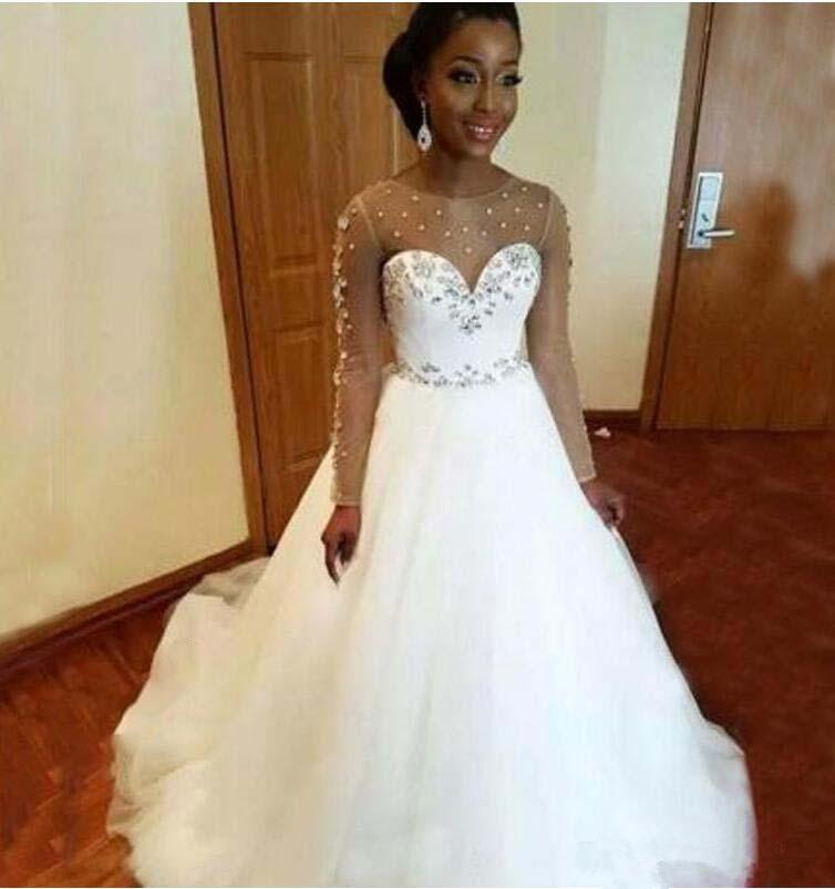 A Line White Tulle Wedding Dress 2017 Arabic Bridal