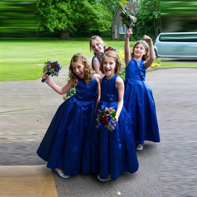 107eab69852 Doctor Wedding Royal Blue Flower Girl Dress with Handmade Flowers Floor  Length Long Draped Satin Flower Girl Dress for Party