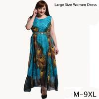 Large Size 6XL Summer Dress 2017 Plus Size 7XL Bohemia Casual Loose Dresses Plus Size M