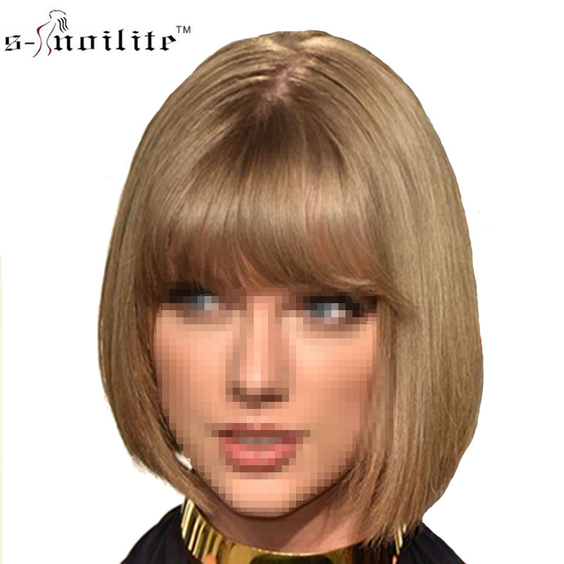 SNOILITE 12inch 32cm Bob Short Wig Brown Red Neat Bangs Synthetic Hair wig for Daily Dress Heat Resistant Fake Hair Pieces wigs